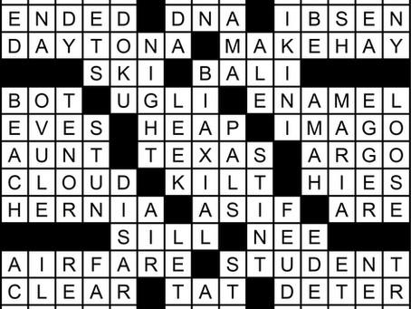 Solution to April's Crossword Puzzle: Spring Break