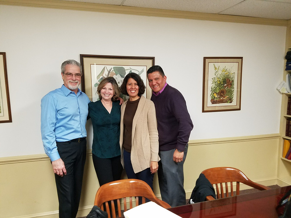Former owners of TJ's of Calverton, Tim and Karen Murray with new owners, Guillermo and Rosa Bustamante