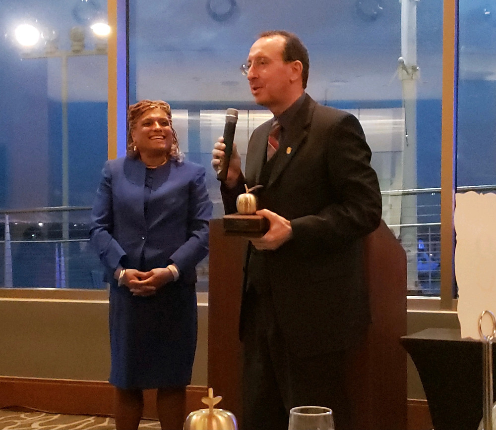 Councilmember Tom Dernoga awarded the Prince George's County Education Association's (PGCEA) coveted Golden Apple, May 2021.