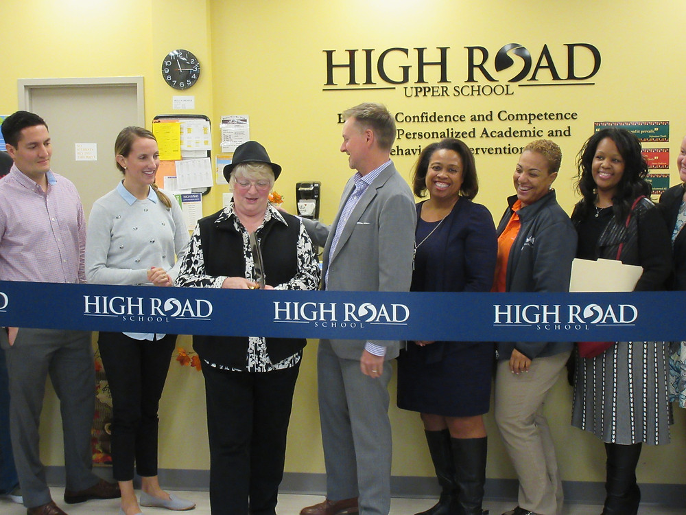 The High Road ribbon cutting ceremony. Pictured from left to right; Chris Aiello, Director, High Road School; Kelcey Ostrusky, Associate Director, High Road School; Jeanette (Coco) Houghtaling, Retired Prince George's County Public Schools - PGCPS; Keith White, Regional Vice President, Catapult Learning/High Road Schools; Carolyn Elis-Holloman,  PGCPS; Michelle Anderon, Executive Director, High Road Upper School; and Chandra Watson, PGCPS