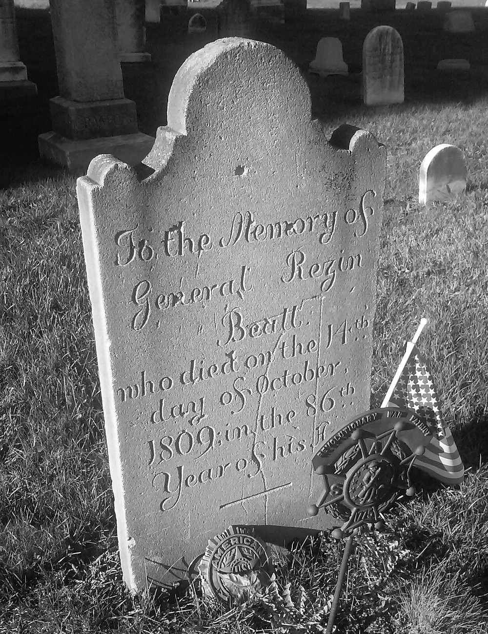 Resin Beall's gravestone in St. John's Cemetery in Beltsville (1723 - 1809)
