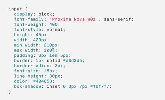 Example code of CSS Properties