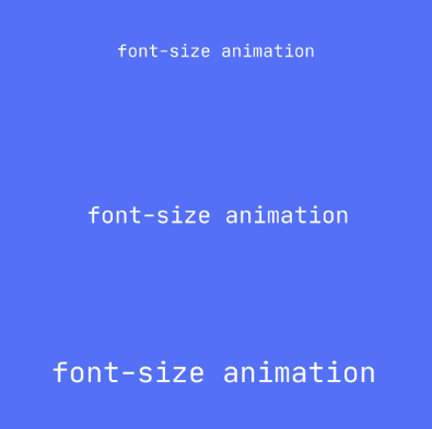 Graphic showing the font of an HTML element changing size using CSS Animatable Properties