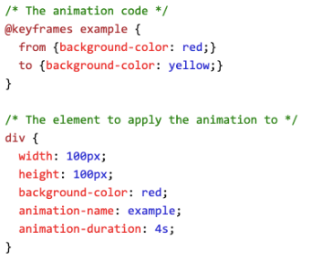 Example of the full code used to animate an HTML element using CSS