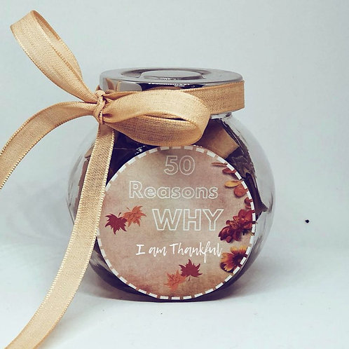 50 Reasons Why I am Thankful - Personalized Jar