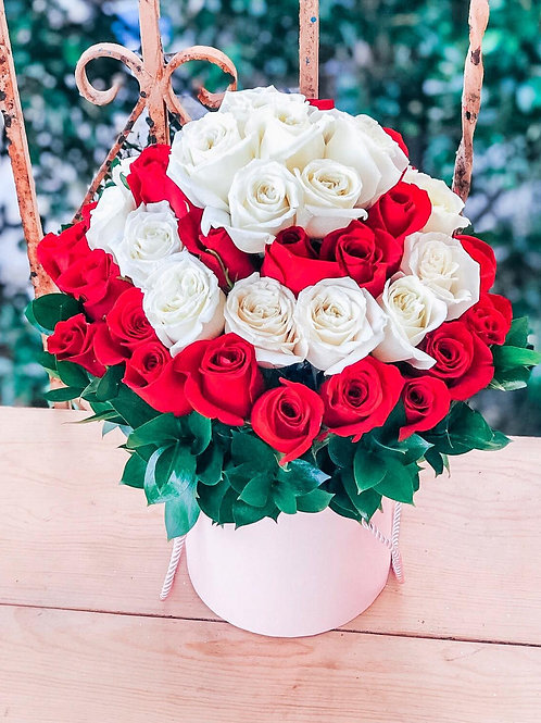 White & Red Roses Flower Box