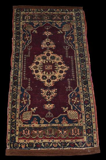 Tapis Hereké ancien, Turquie, 55 cm x 102 cm, Milieu du XIXème siècle