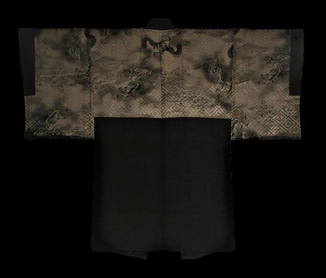 """""""Kimono ancien """"Haori"""" homme, Japon, soie peinte, première moitié du XXème"""