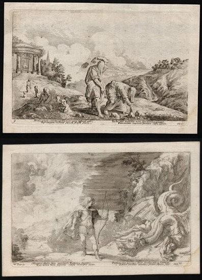 Johann Wilhelm BAUR  (1607-1640) Gravures en paire , éditées en 1641