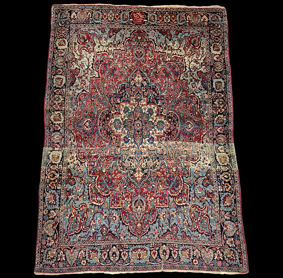 """""""Tapis Persan Ghom ancien, signé, daté, laine et soie, 135 cm x 197 cm, Iran, tr"""
