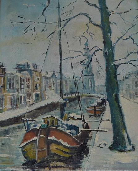 Jan KELDERMAN (1914 - 1990) attribué à , Les Quais sous la Neige - circa 1945