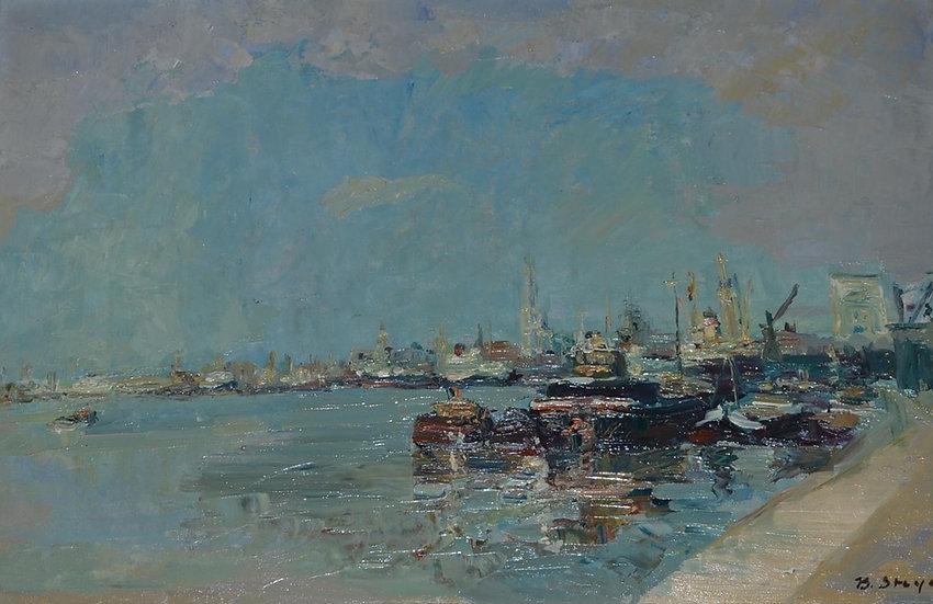 """Bernard STEYAERT (1909 -1993) """" La Rade """" 1950"""
