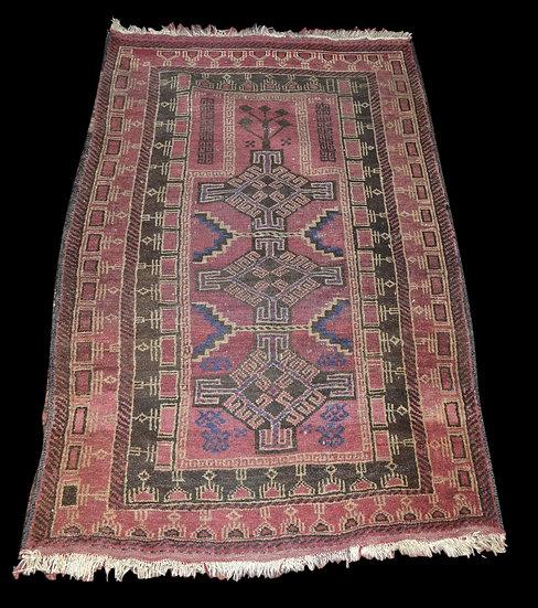 Tapis beloutche Ancien de prière, 77 cm x 123 cm, Iran, début du XXème siècle