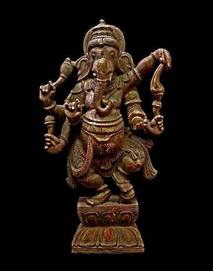 Important Ganesh en bois, Inde, fin du XIXème