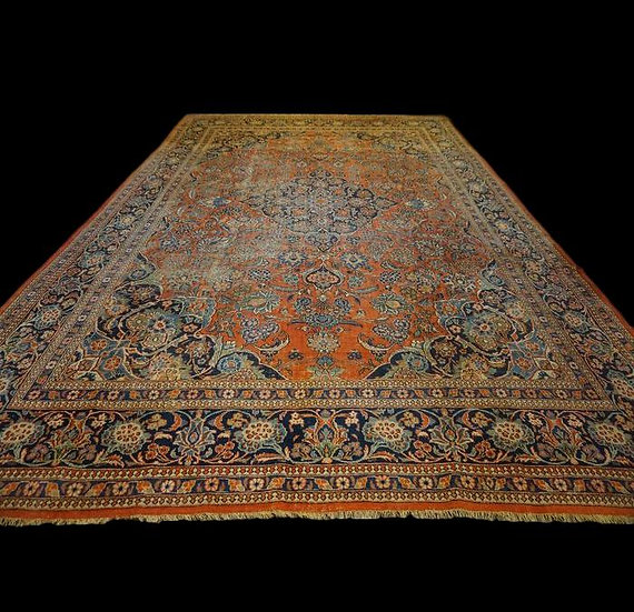 Important Tapis Persan Kashan, 345 cm x 522 cm, Iran, Laine Kork, vers 1930,