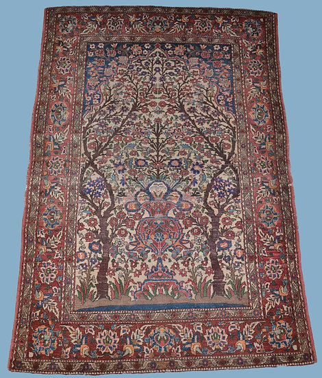 TAPIS KACHAN Ancien, en forme prière, 139 x 201 cm, Iran, fin du XIX ème siècle