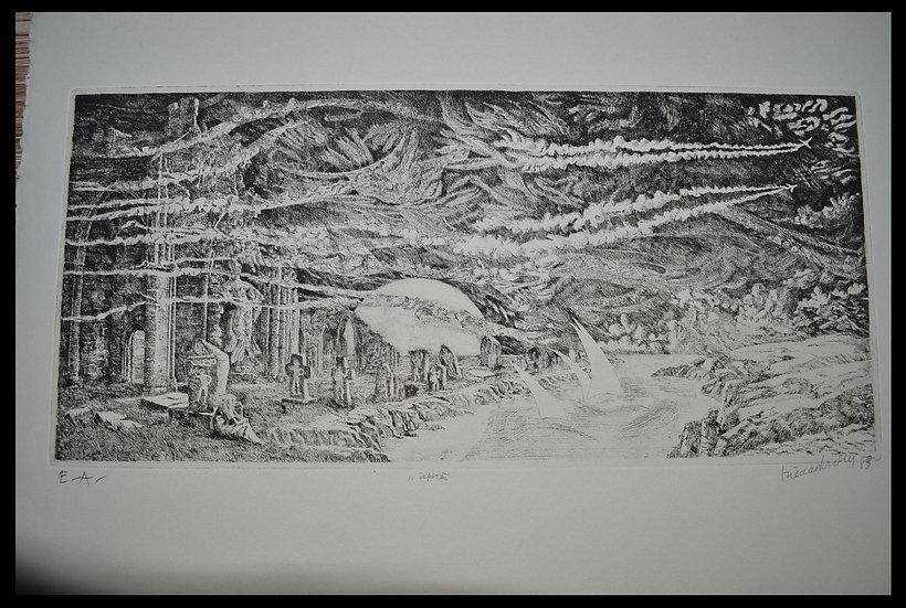 """Hilda VAN NORDEN (1922-2017) ,Gravure """" Après """" ,1983"""