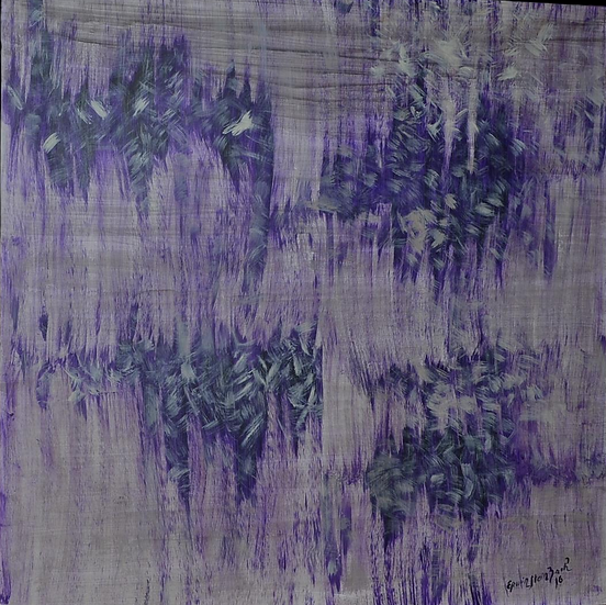 "Erwin STEINBACH , ""Les glycines "", 95 x 95 cm,  2016"