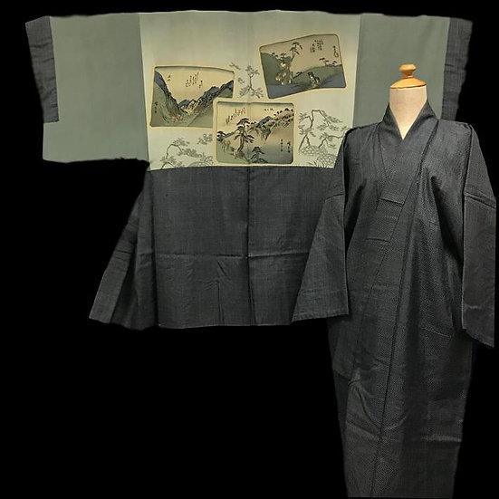 Kimono ancien et son Haori Homme, soie, Japon avant 1950