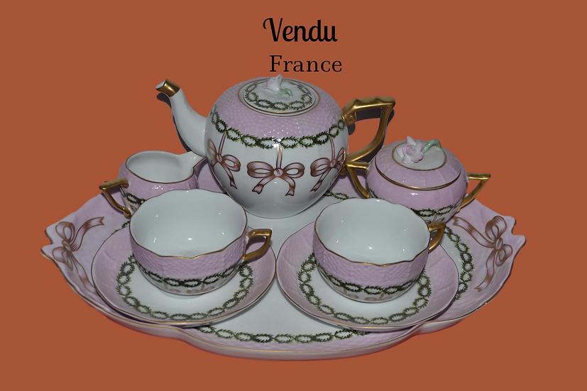 Service à thé en tête à tête en porcelaine rose - circa 1990