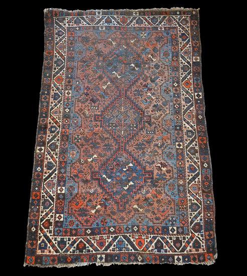 Tapis Gashghaï, Iran, Laine sur Laine, 115 cm x 181 cm, milieu du XXème