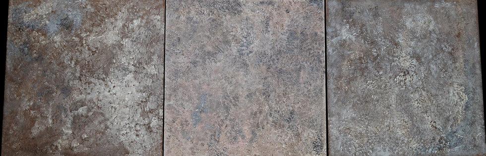 """Erwin STEINBACH """" Les friches """" Triptyque, ( 100 cm x 100 cm ) x 3, Circa 2018"""