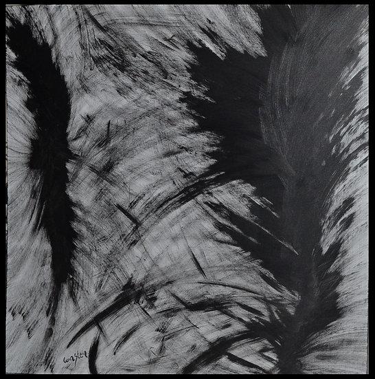 """STEINBACH Erwin (1964 - ) ,"""" L'Oiseau Noir """" , 90 x 90 cm, 1989"""