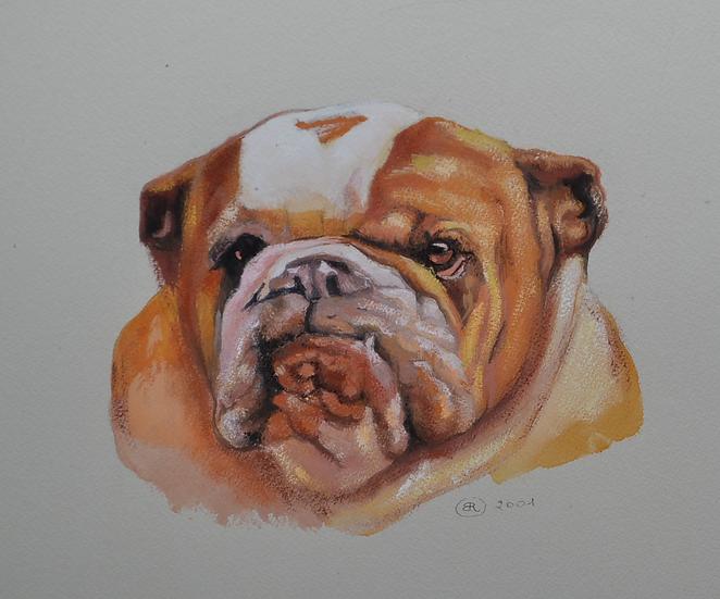 BLANC Robert - Aquarelle d'un portrait de chien -2001