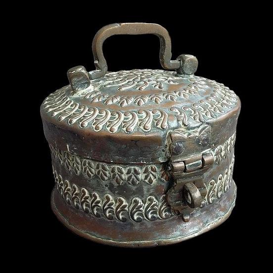Boite à Bétel complète en cuivre, Inde du Nord, Fin du XIXème Siècle