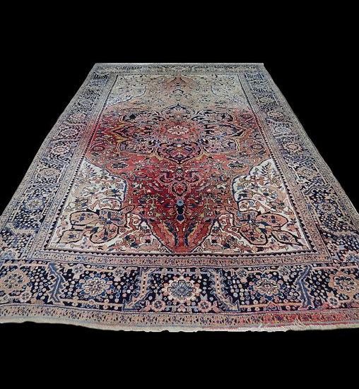 Tapis persan meina (heriz) Ancien, 242 cm x 343 cm, noué main, Iran, vers 1930