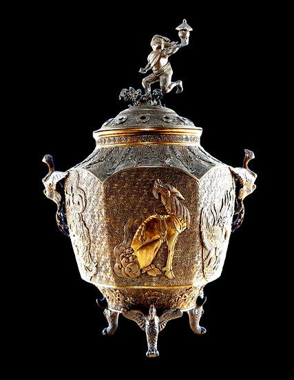 """"""" Important Brûle-parfum En Bronze Doré, Chine XIXème siècle """""""