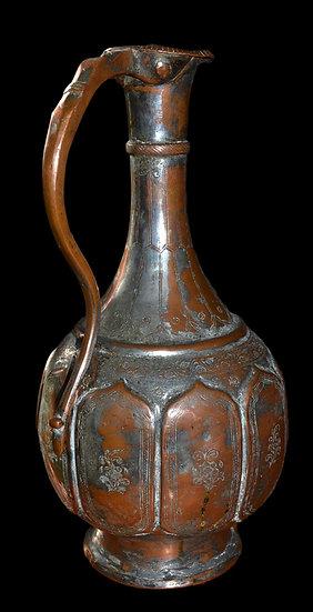 Aiguière, Art Ottoman, Turquie, Argent Sur Cuivre Fin Du XVIIIème