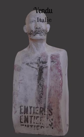 Sculpture en argile blanche, buste - circa 1990