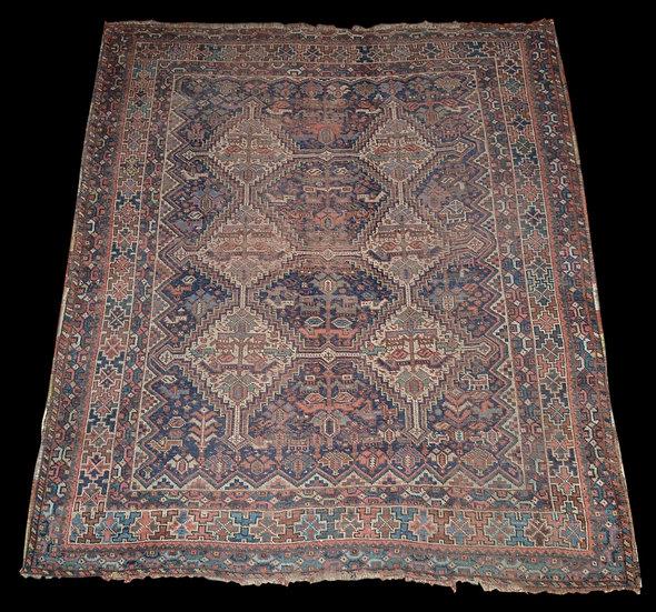 Tapis Chiraz Ancien, Tribus Nomades Khamseh, 172 x 198 cm, début du XXème