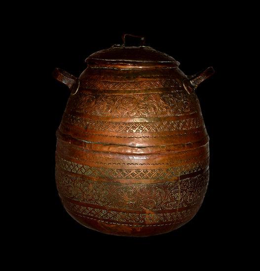 Sernij, pot à lait ou crème, cuivre rouge et jaune, Azerbaïdjan, XIXème
