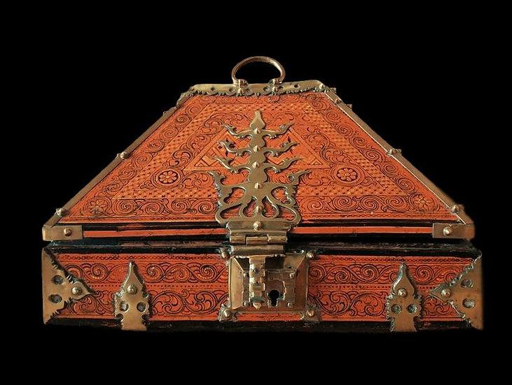 Coffret de mariage, Kerala, bois de portia, Inde XIXème siècle