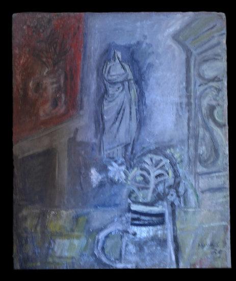 """Peter NYHUYS  (1912 - 2005) , """" L'Atelier """",école Belge, 1959"""