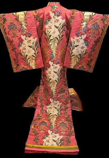 Kimono UCHIKAKE en soie brodée, Japon, vers 1970, parfait état