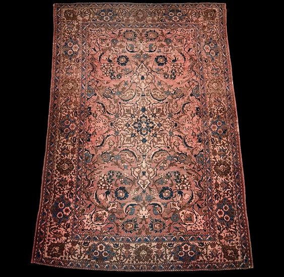 """""""Tapis Persan Ispahan ancien, XIXème,142 cm x 212 cm, Iran, laine et soie, très"""