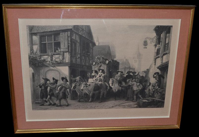 GIRARDET Paul gravure (1821 - 1893) - La Noce - circa 1863