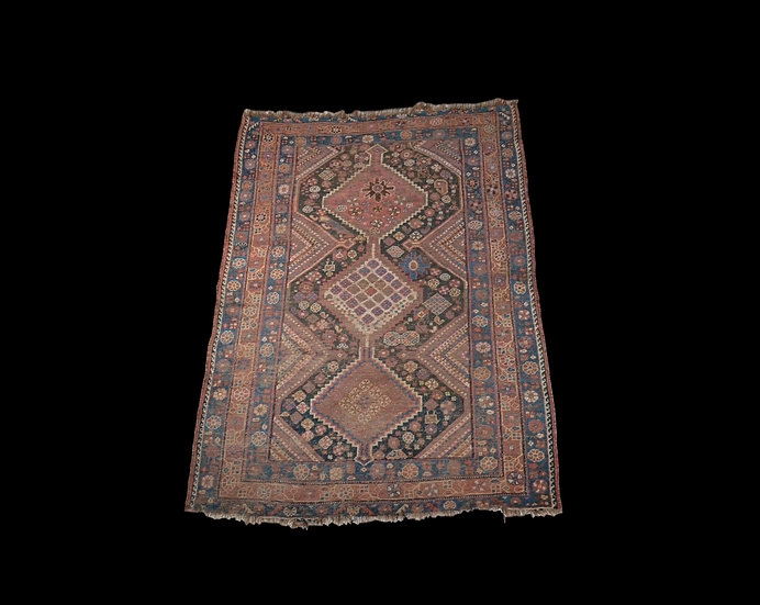 Tapis Gashghaï Ancien, 134 cm x 181 cm, Iran, laine nouée main, vers 1950,