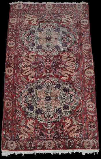 Tapis agra ancien, Inde, 100 x 177 cm, laine nouée main vers 1920