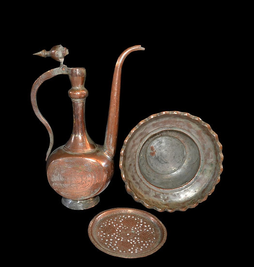 """Aiguière """"Aftafa"""" et son bassin, Cuivre étamé, Turkménistan XIXème"""