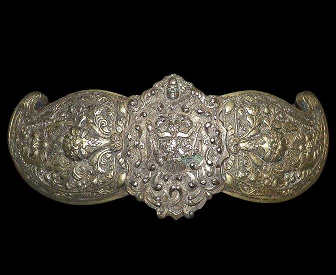 """""""Ceinture et boucle, """"kamar"""" Asie Centrale, bronze, argent, broderies, XIXème si"""