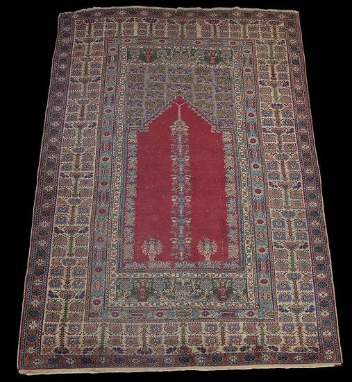 Tapis Koula, Anatolie, Turquie, 127 cm x 186 cm, Soie nouée main, XIXème Siècle