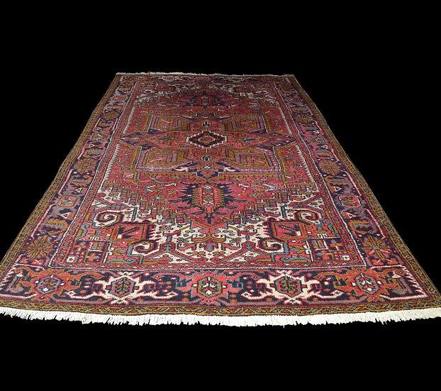 Tapis Persan Heriz, Iran, 221 cm x 353 cm, Laine Nouée Main Vers 1960