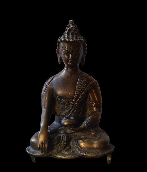 Bouddha en Bronze, H 23 cm, Début du XXème Siècle