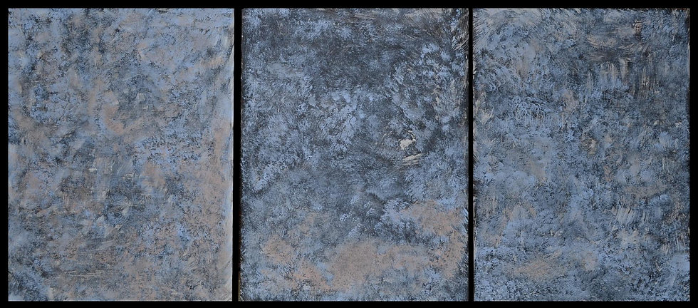 "Erwin STEINBACH, "" Nuit froide "" Triptyque, 80 x 60, 2018"