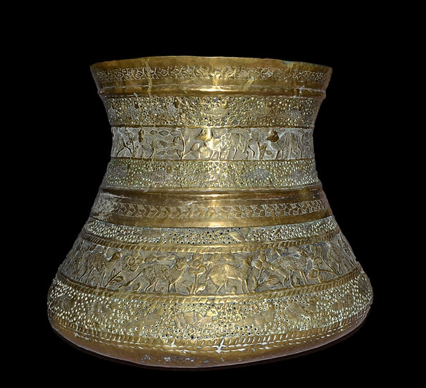 Important Vase en Cuivre Ciselé, Indo-persan du XIXème Siècle,