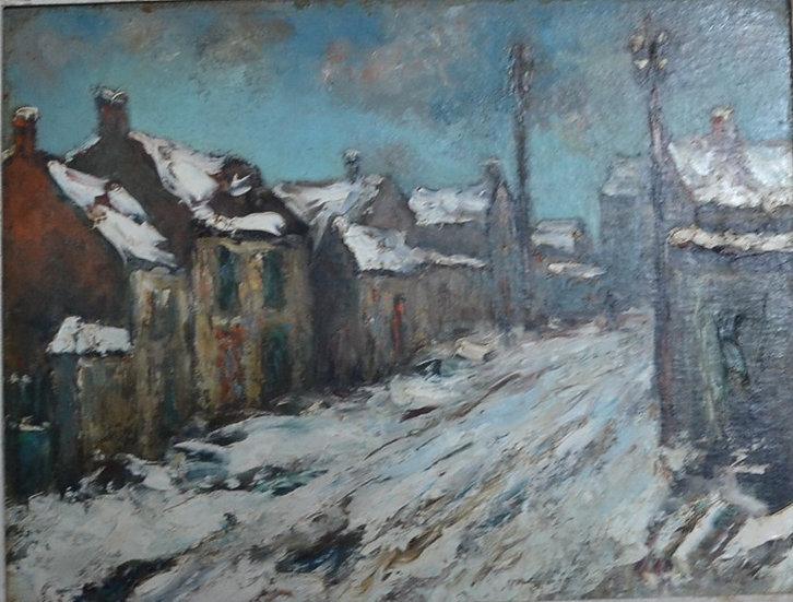 Huile sur carton - Les Faubourgs de Caen - circa 1920